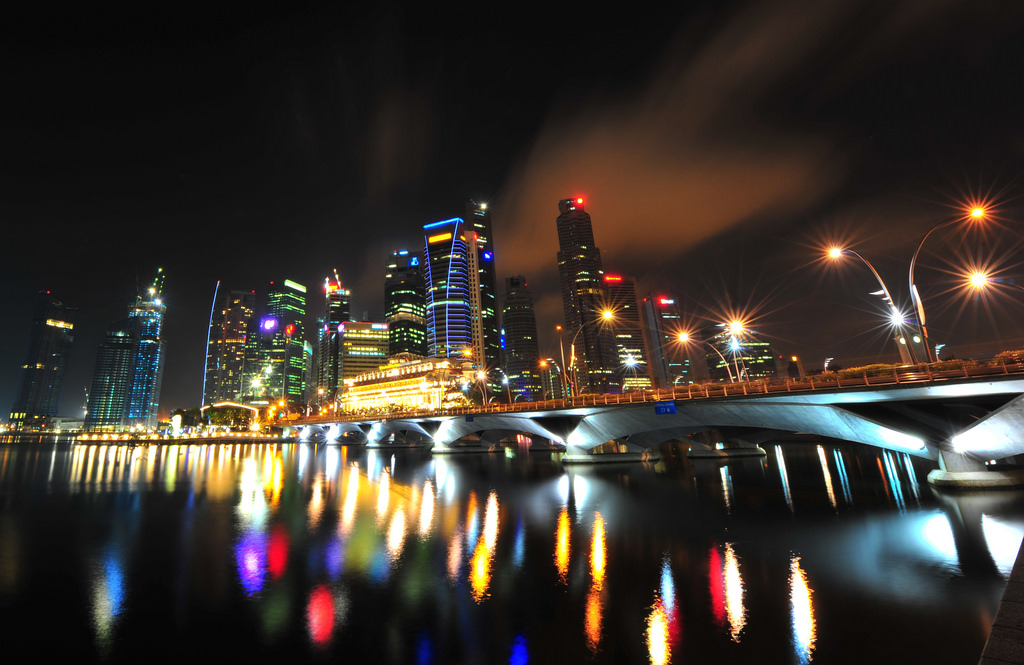Marina Bay Night CBD Singapore Central Business District