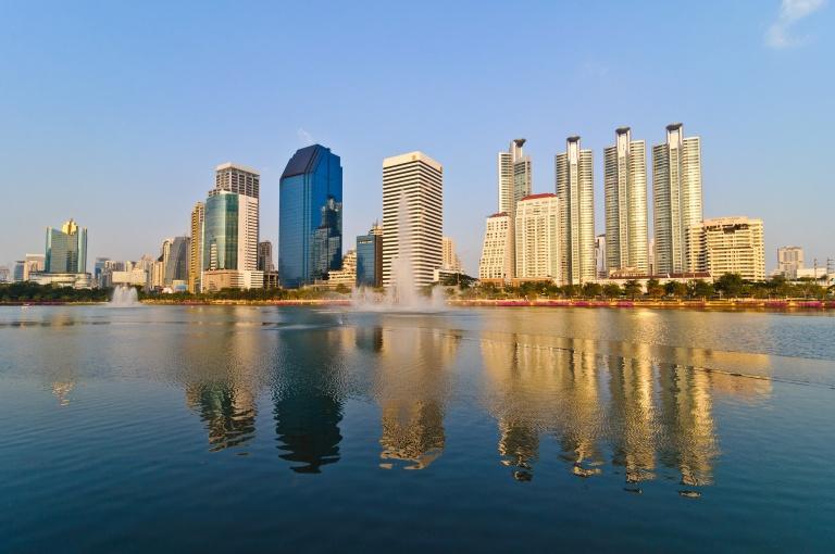 Milllennium condominiums Lake Ratchada Skyline towards the Asoke intersection in Bangkok, Thailand