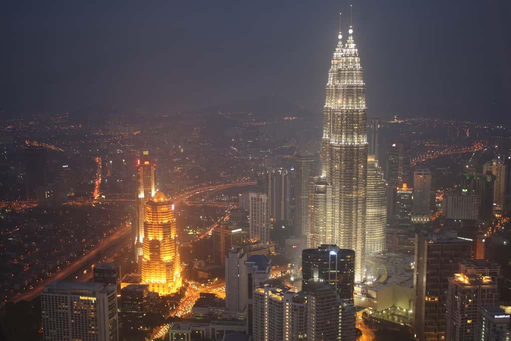 Petronas Tower The Twin Towers Skyscrapers at Night in KL Kuala Lumpur, Malaysia