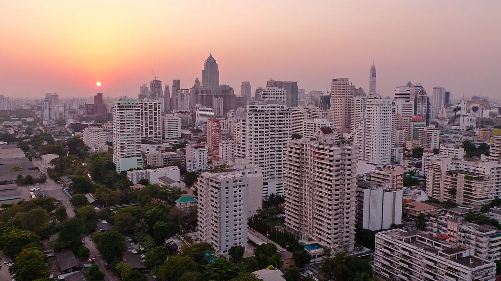 Sunset in Bangkok City CBD Central Business District Skyline Bangkok Thailand