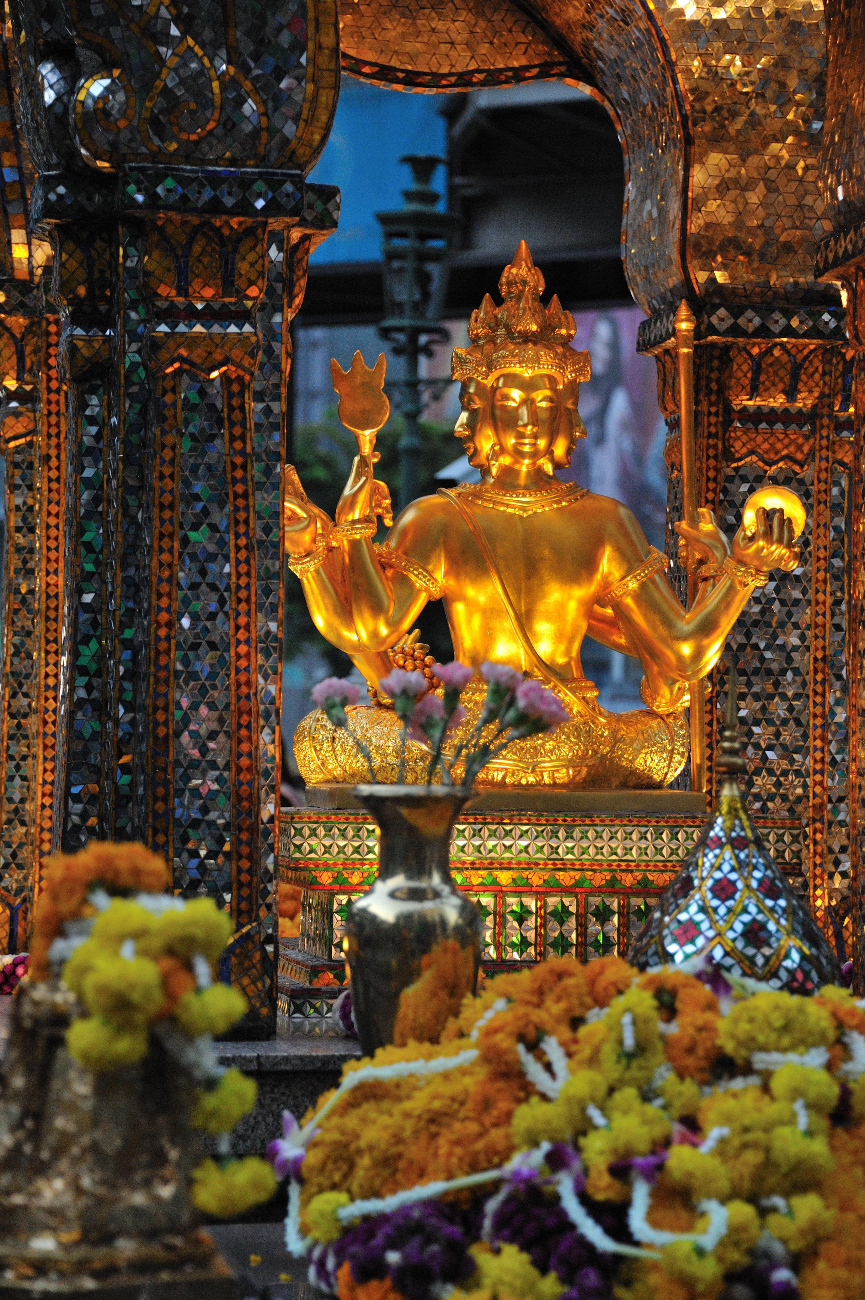 The Erawan Shrine 'San Phra Phrom' a Hindu Shrine in Siam Square Bangkok, Thailand